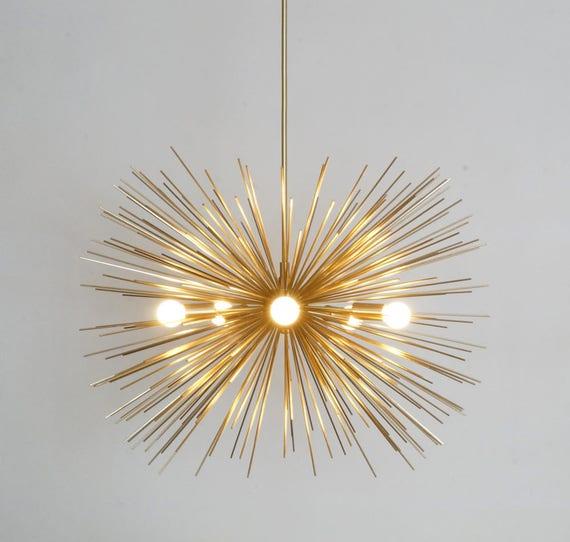 Hervorragend Mitte Jahrhundert Modern Gold Messing Starburst Decke Lampe | Etsy