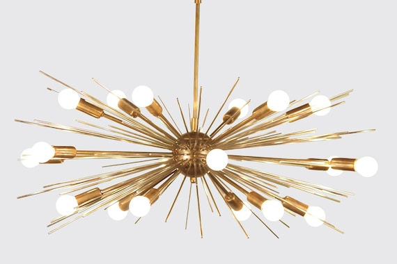 Mid century modern handcrafted gold brass spurchin chandelier etsy image 0 aloadofball Images