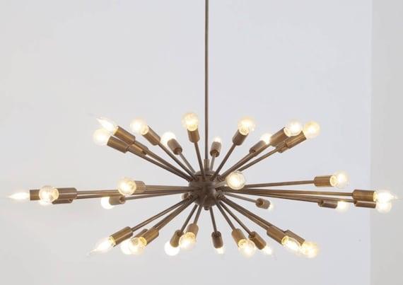Large Mid Century Modern Large Sputnik Chandelier Ceiling Lamp Brass Pendant Light 36 Diam