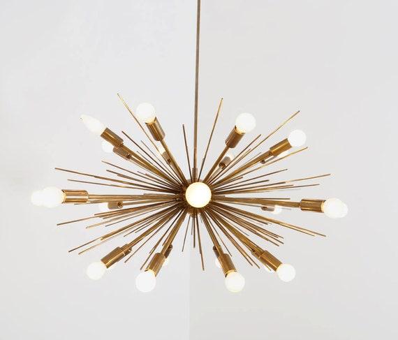 Large Mid Century Modern Spurchin Chandelier Sputnik Ceiling Lamp Brass Light 36 Diam 24 Bulb
