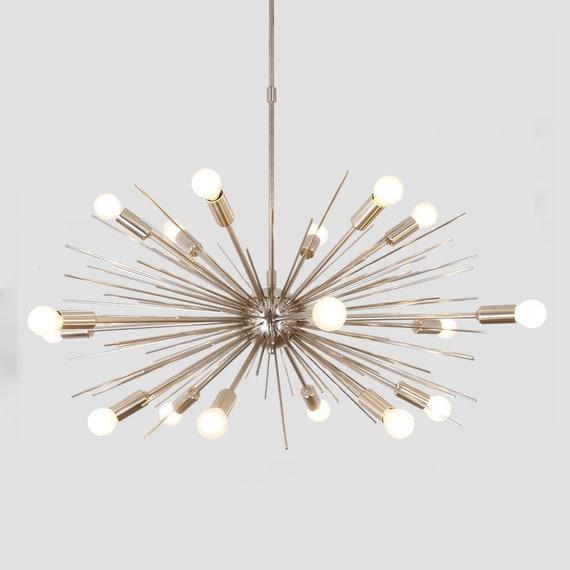 Details about Mid Century Modern Brass Sputnik Chandelier 16 Arms Starburst Handmade Lighting