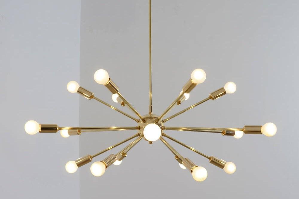 Mid Century Modern Polished Brass Sputnik Chandelier Light
