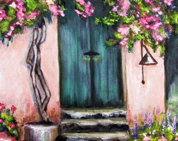 "Free Ship: ""Porte Italienne enVert"" (green Italian doorway) - Original Oil Painting"
