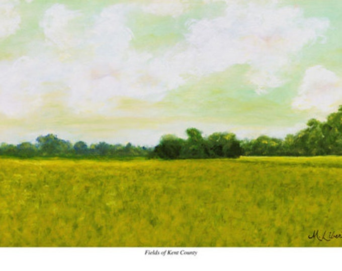 "Free Ship: ""Fields of Kent County"" (Delaware) - Giclee Print of Oil Painting"