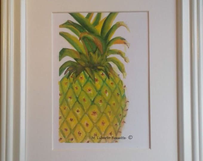 Fresh Pineapple, framed original watercolor painting by M. Liberto Bessette