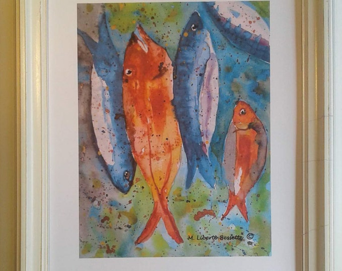 Fish to Fry, framed watercolor print by artist M. Liberto Bessette