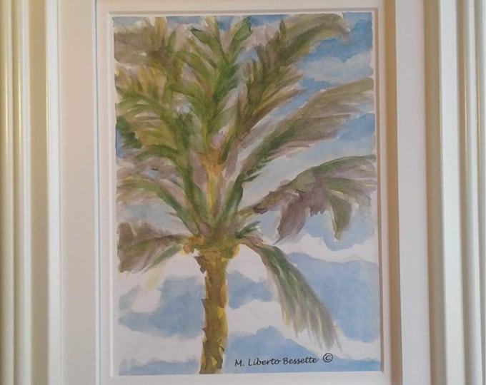 Palm Tree in Breeze, framed original print by M. Liberto Bessette