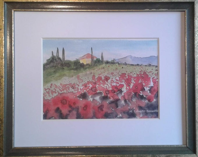 Poppy Field in Tuscany, framed original watercolor painting by M. Liberto Bessette
