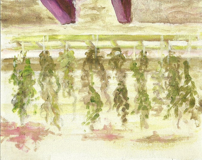 Plantation Herbs Hanging to Dry (Dickinson Plantation), Delaware  -Original Oil - Free shipping