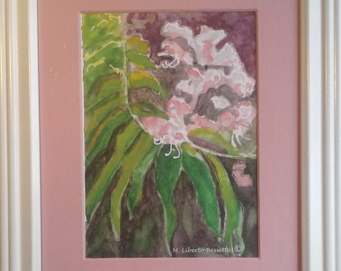 Carolina Crape Myrtle, framed original watercolor painting by M. Liberto Bessette