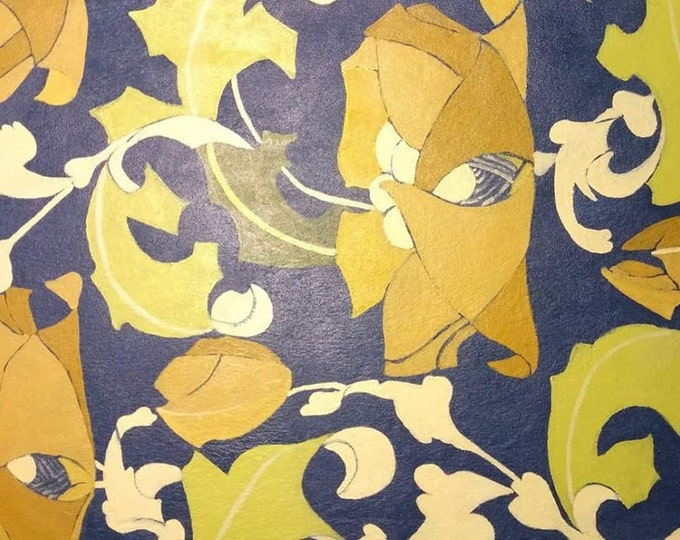 "Titled ""Robert Morris Yellow Flowers ""Floorcloth, Painted Canvas Rug, Offered by Artist"