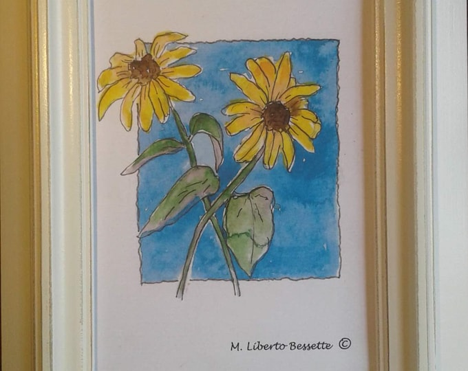 Two Back-eyed Susans, framed original watercolor painting by artist M. Liberto Bessette