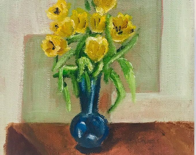 Yellow Tulips in Blue Vase, Original Oil Painting