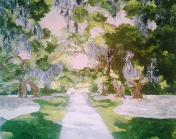 Where the Sidewalk Ends at Brookgreen Gardens, Original Acrylic Paintng Offered by Artist, Free Ship