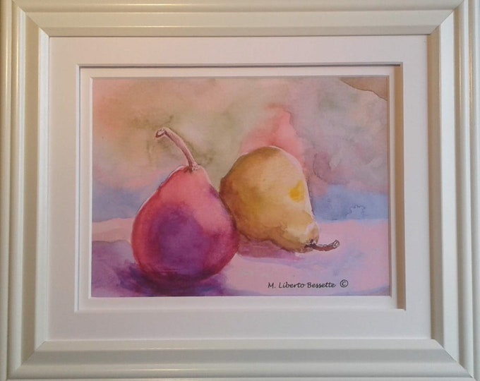 Two Pears, framed original watercolor painting by M. Liberto Bessette