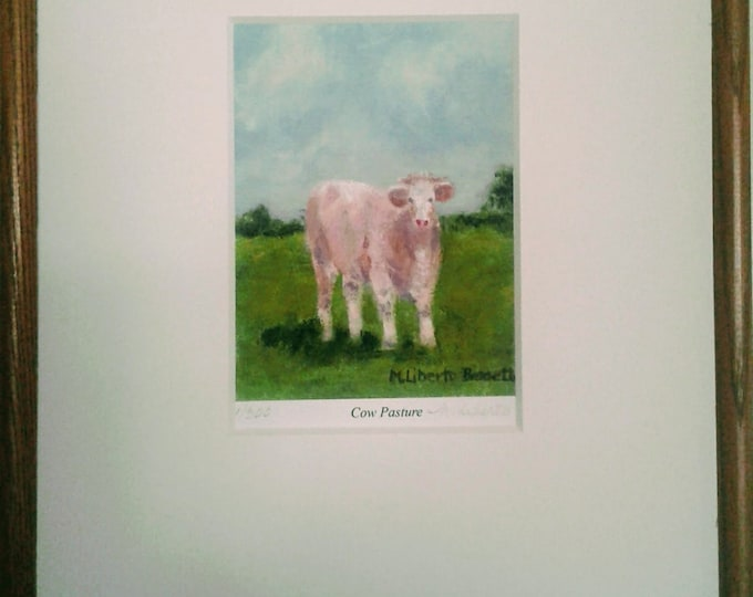 "Free Ship: ""Cow Pasture"" Framed Giclee Print Offered by Artist"
