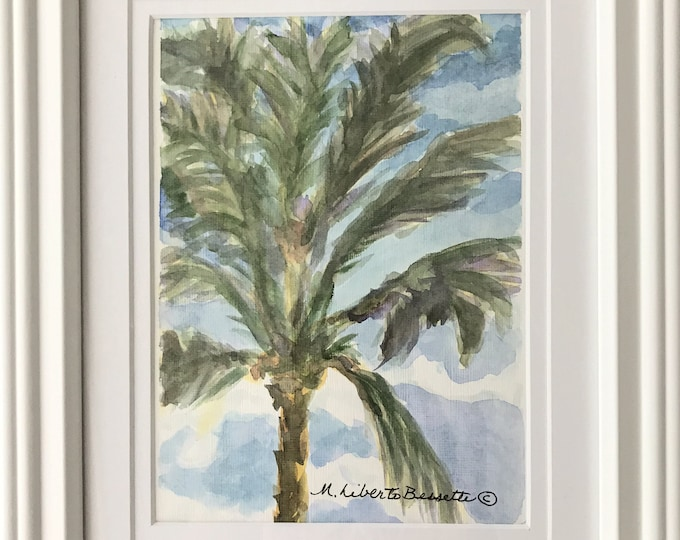 Palm Tree in Breeze, framed original watercolor painting by M. Liberto Bessette