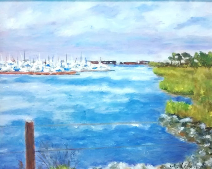 Indian River Inlet Marina from Burton's Island -  Rehoboth Delaware - Plein Air - reduced 20%