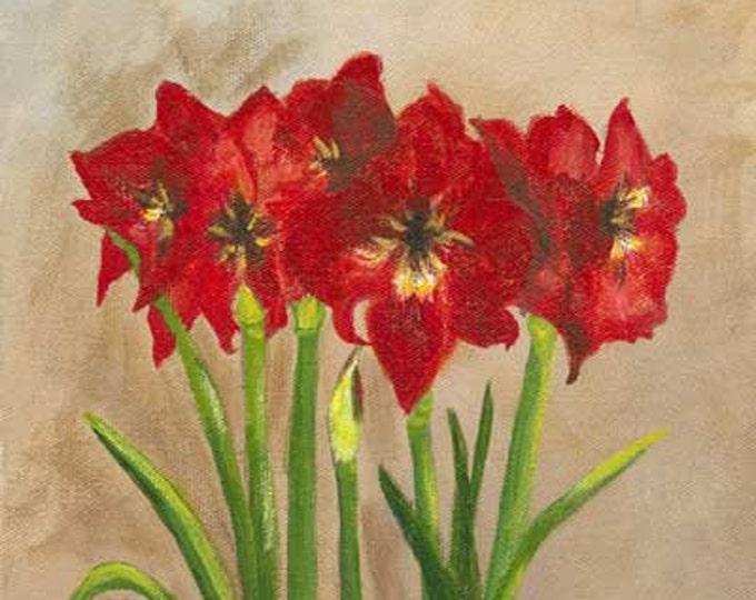 """New """"Amarylis in Urn"""" - Archival Giclee Print of Acrylilc Painting - Free Shipping"""