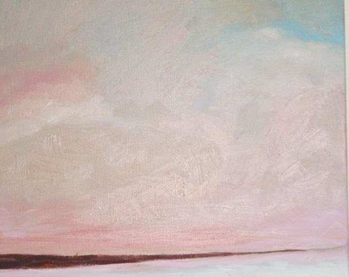 Autumn Sky Beach - Daily Painting, Original Oil - Free Shipping