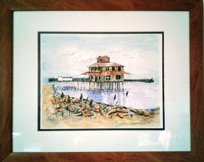 Free Shipping: Port Mahon Lighthouse Last Days, Framed Watercolor Print, offered by artist