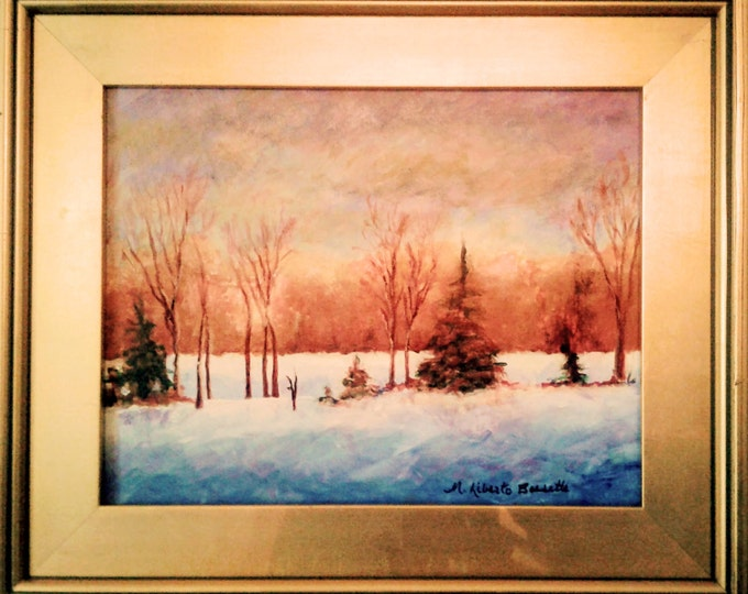 """Free Ship: """"Early Snow Surprise"""" Original Acrylic Offered by Artist of Liberto's Gallery"""