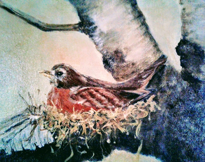 "Title: ""For Every Bird A Nest"" - Original acrylic offered by artist - Free Shipping"
