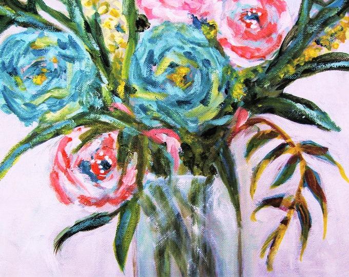 """Free Ship: """"Belles Flurs"""" (beautiful flowers) - Original Oil Paintng"""