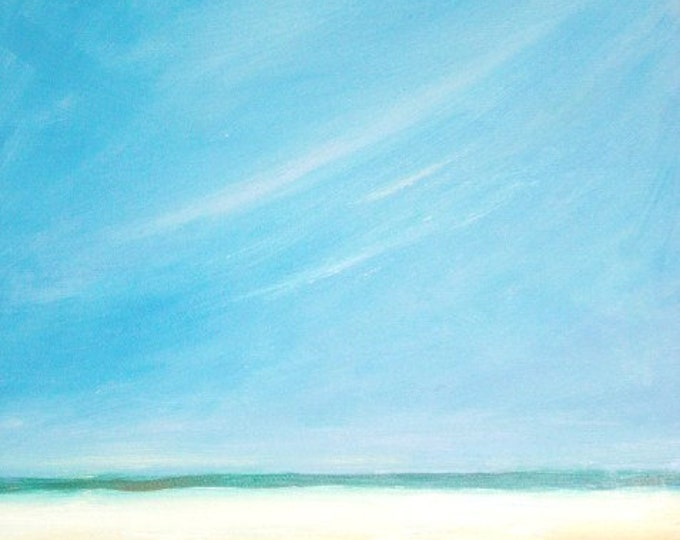 Blue Sky Beach - Daily Painting - Original Oil - Free Shipping