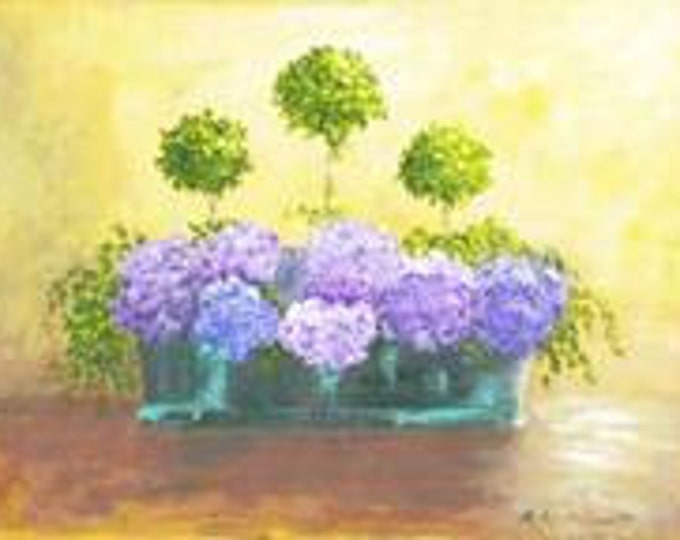 "Free Ship: ""Hydrangea"" - Giclee Print of Acrylic Original"