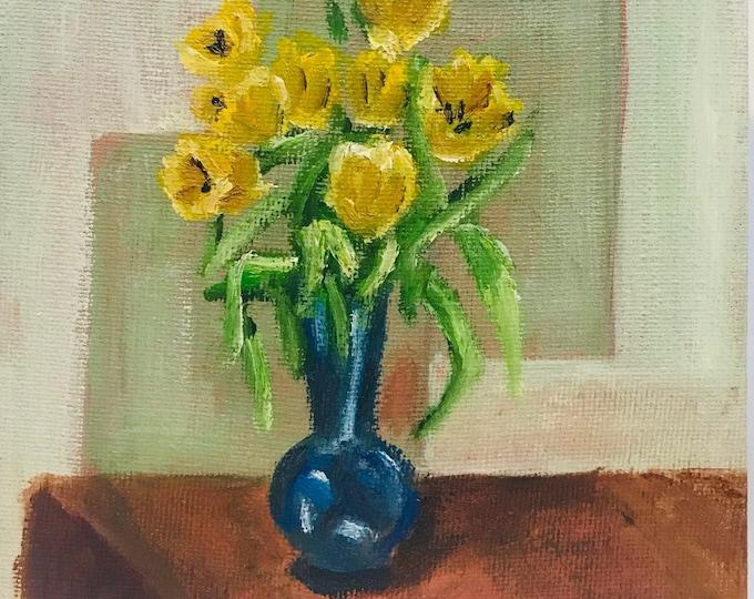 Yellow Tulips in Blue Vase, Original Oil Painting
