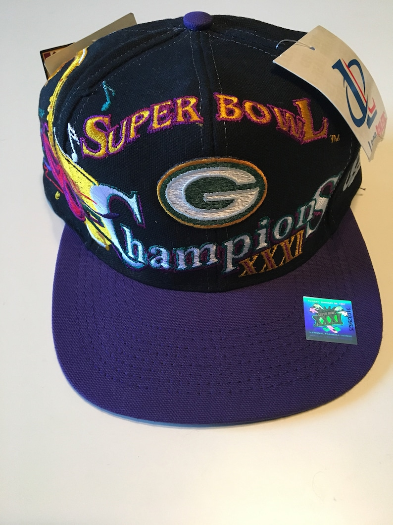 78ef147dbb96f Vintage Brand New With Tags Green Bay Packers Super Bowl Champion NFL  Football Logo Athletic SnapBack Hat Cap