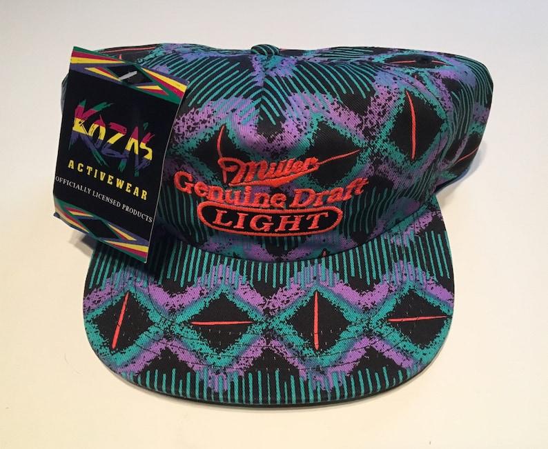 74140e0760e77 Rare Vintage Miller Lite Genuine Draft Teal Purple Coral Neon