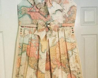 Origami map dress etsy world map handmade folded map dress vintagenursery decorroom decor paper dressmap dress gumiabroncs Gallery