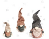 Set of 3 Sizes Christmas GNOMES Crochet Patterns Scandinavian Gnomes