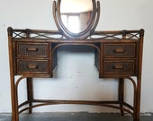SOLD SOLDMidcentury bamboo dressing table with mirror, 4 drawers, bohemian, retro, rattan dresser.