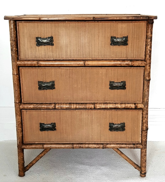 more photos 9258c 1dd59 SOLD DO NOT buy please! Victorian bamboo chest of drawers, antique  Chinoiserie, English antique,19th century Aesthetic Movement.
