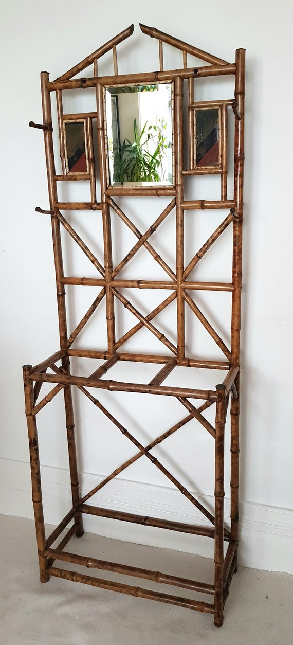 Edwardian Bamboo Hall Stand With Mirror Vintage Chinoiserie Etsy