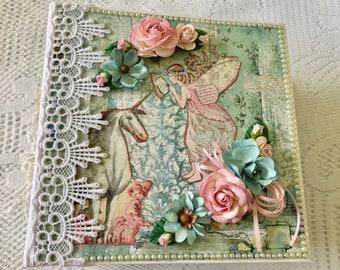 "Handmade Mini Album With Unicorns And Fairies, Size 8.5"" x 8.5, 5""  Spine, Stamperia Wonderland, Laces, Pre Made Scrapbook, Memory Album"