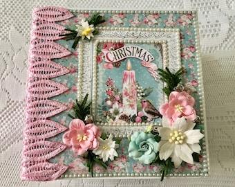 Mini Album Christmas, Mini Album For Sale, Pink Christmas, Stamperia, Handmade Mini Album, Pre Made Scrapbook, Cheryl's Paper Creations