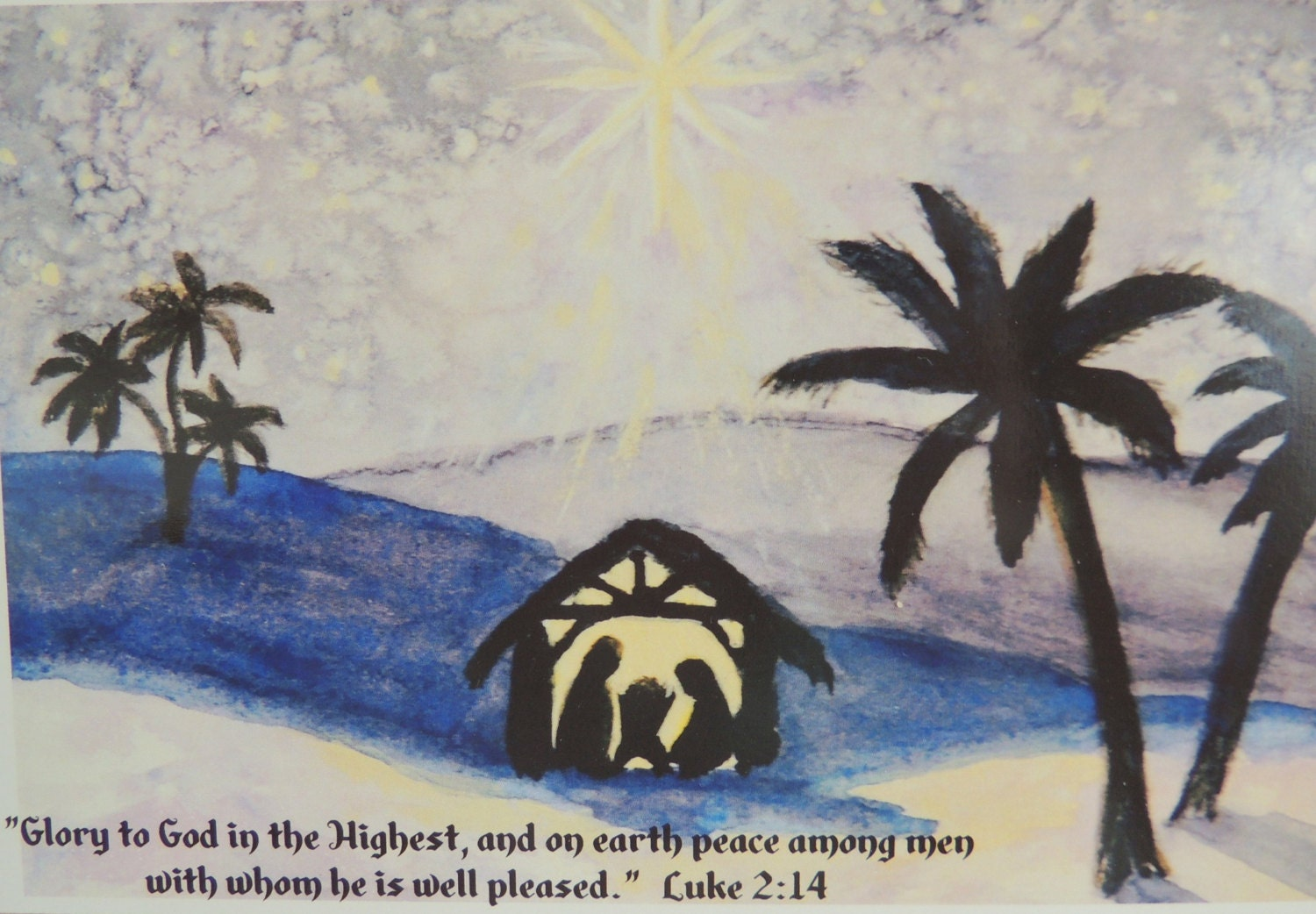 SALE Christmas Cards Watercolor Art sets of 5 cards Nativity scene ...