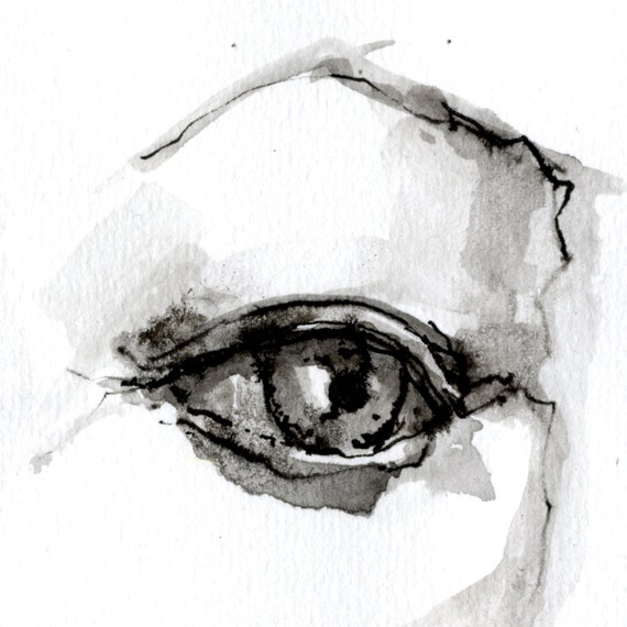 Original Portrait Zeichnen Frau Auge Nahaufnahme Schwarze Etsy