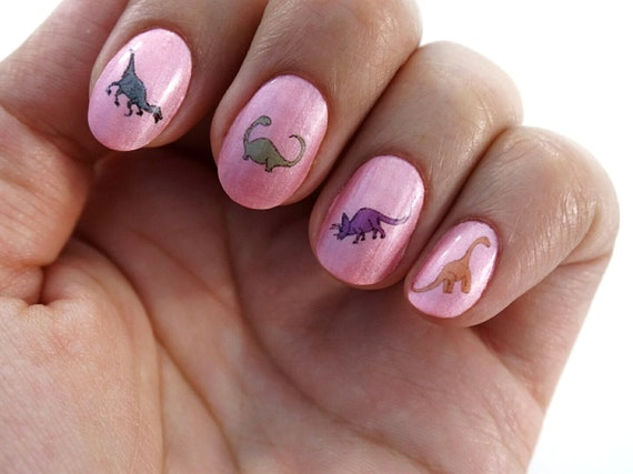 Colourful Dinosaur Waterslide Nail Decals