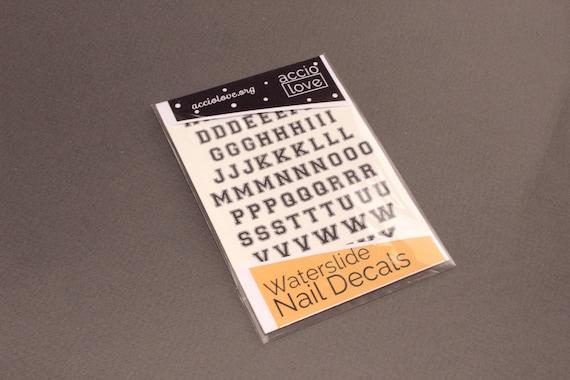 Alphabet Waterslide Nail Decals - Varsity, Old School