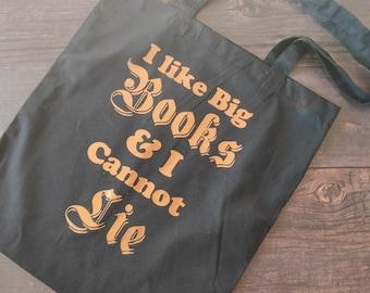 I Like Big Books & I Cannot Lie Slogan Tote Bag - Bookworm Book Lover