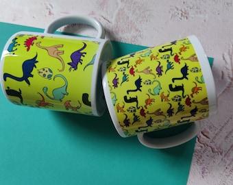 Multicoloured Dinosaurs, Ceramic Mug