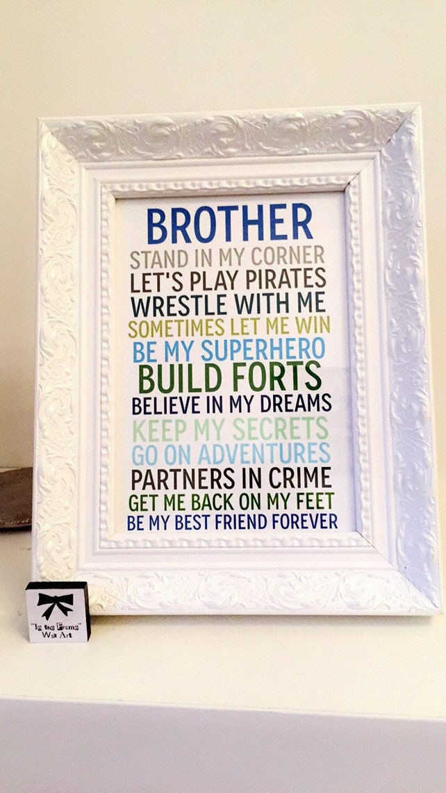 Sister/Brother gift perfect for siblings 7 x 5 print and frame | Etsy