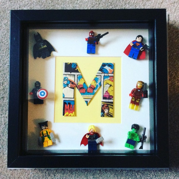 Marvel 3d Letter Frame with all 8 marvel lego mini figures great ...