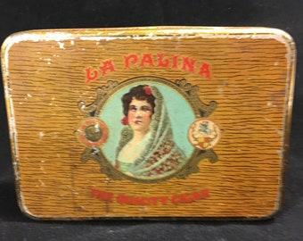 """Vintage La Palina Cigar Box Metal Tin Container Congress Senators Gold 5"""" Rustic"""