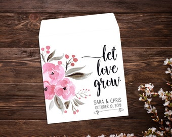 Seed Favor, Seed Packets, Pink Flowers, Custom Wedding Favor, Boho Wedding Favor, Custom Seed Packets, Personalized Favor, Seed Packet Favor
